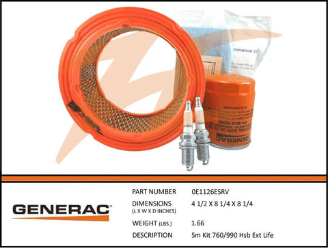 Generac 5664/0E1126ESRV 12-18kW Air Cooled Maintenance Kit