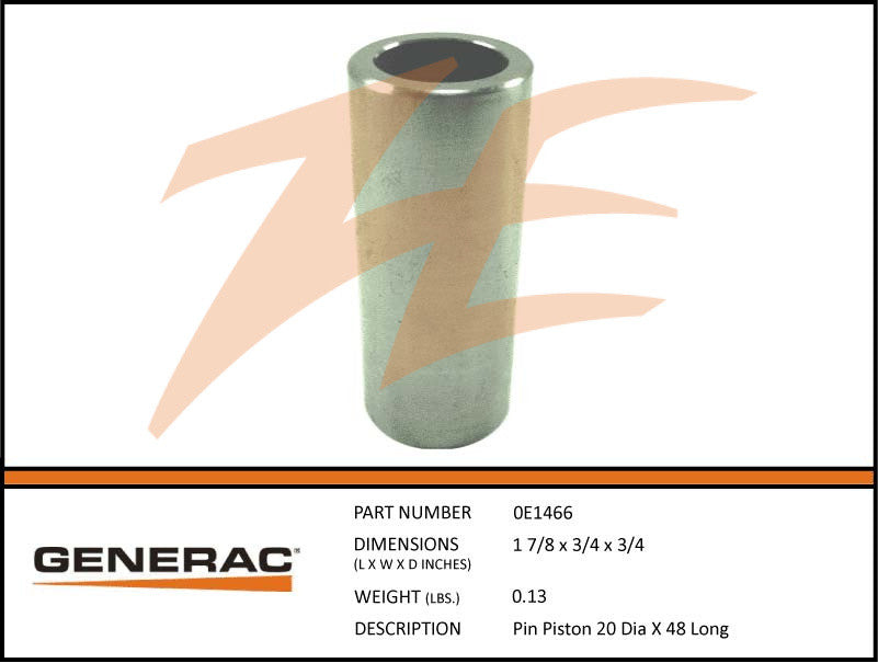 Generac 0E1466 Piston Pin 20 Dia X 48 Long