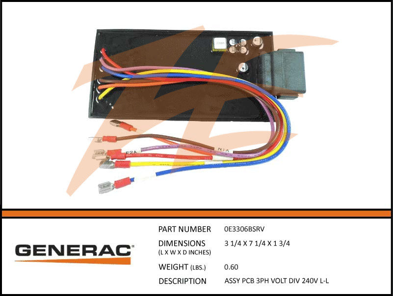 Generac 0E3306BSRV PCB 3 Phase Voltage Div 240V