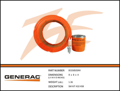 Generac 5661/0E35850SRV 7kW Air Cooled Maintenance Kit