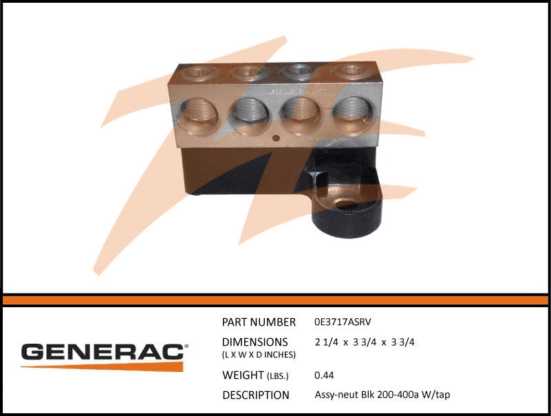 Generac 0E3717ASRV Neutral Block Assembly 200-400A