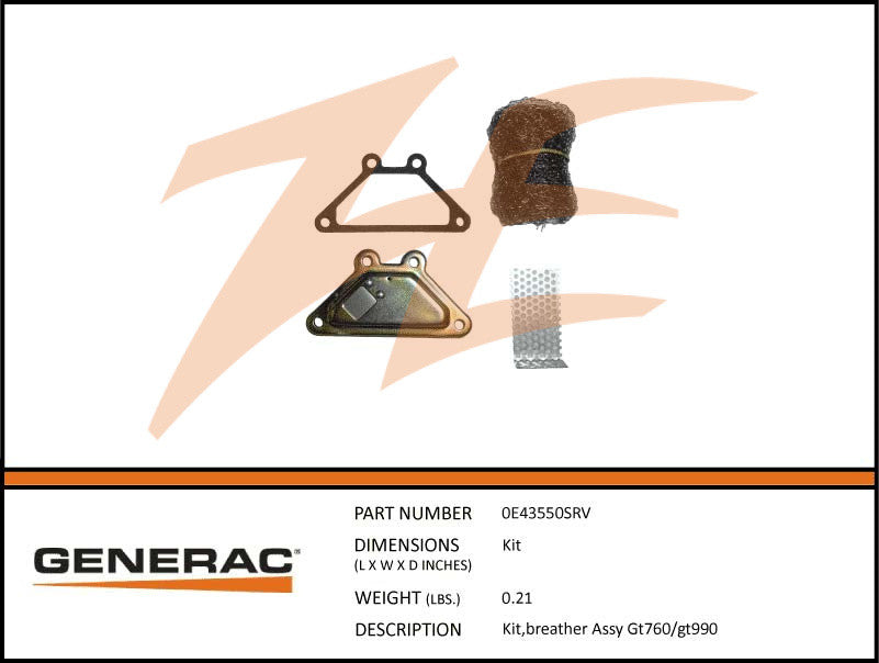 Generac 0E43550SRV Breather Assembly Kit GT760/990