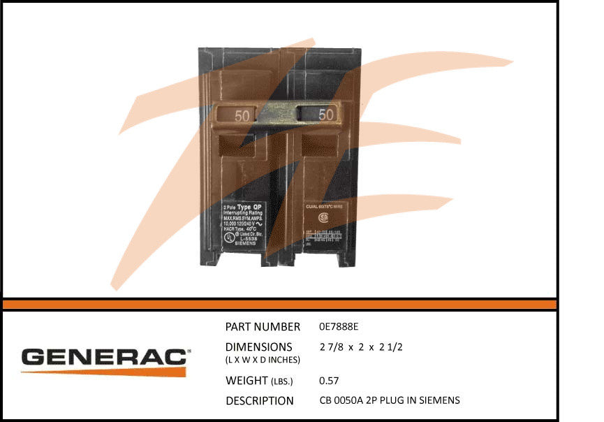 Generac 0E7888E Circuit Breaker 50A 2 Pole 240V Plug In