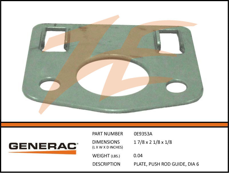 Generac 0E9353A Push Rod Guide Plate