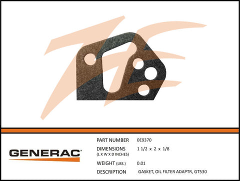 Generac 0E9370 Oil Filter Adapter Gasket