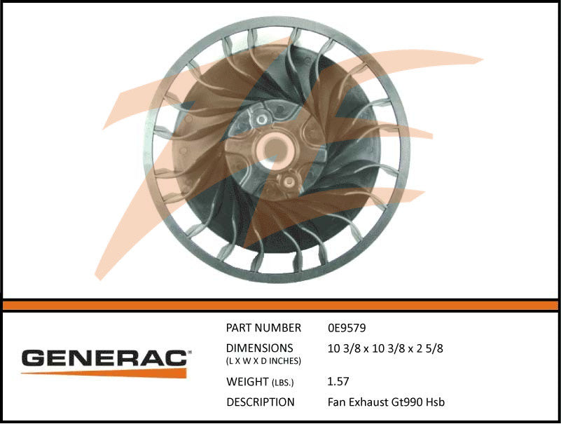 Generac 0E9579 Exhaust Fan GT990