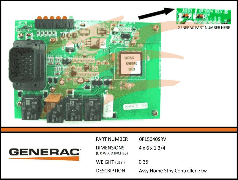 Generac 0F15040SRV 7kW Controller PCB Assembly