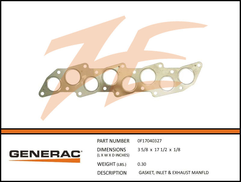 Generac 0F17040327 Inlet And Exhaust Manifold Gasket