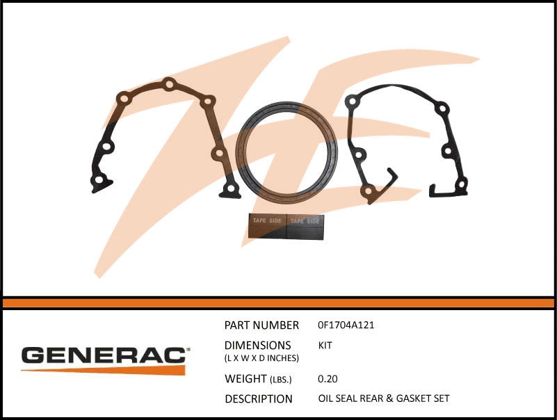 Generac 0F1704A121 Rear Oil Seal and Gasket Set