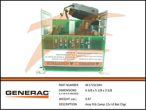 Generac 0F1725CSRV PCB 2A 12V Battery Charger Assembly