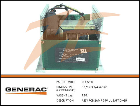 Generac 0F1725D PCB 2A 24V Battery Charger Assembly