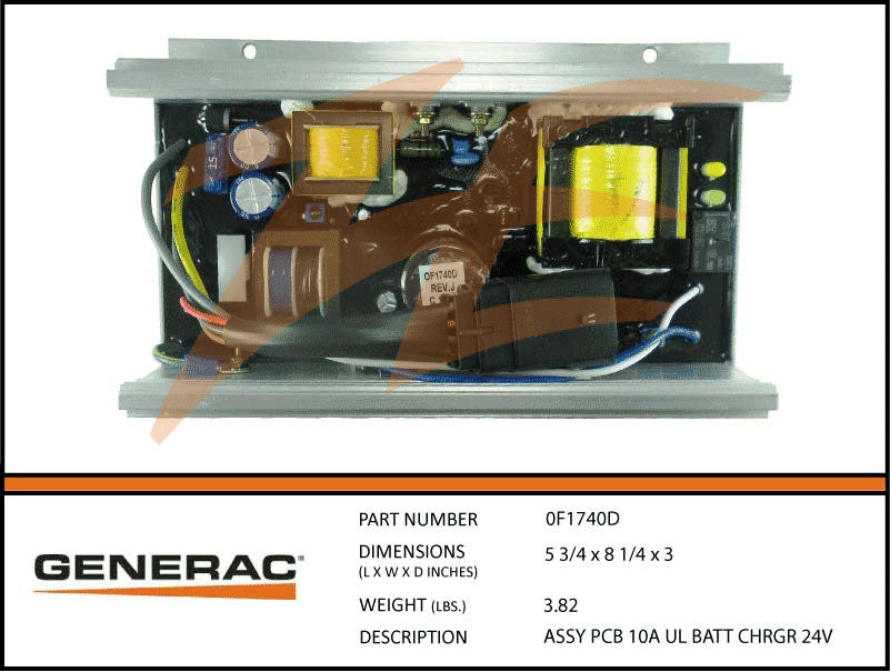 Generac 0F1740D PCB 10A 24V Battery Charger Assembly