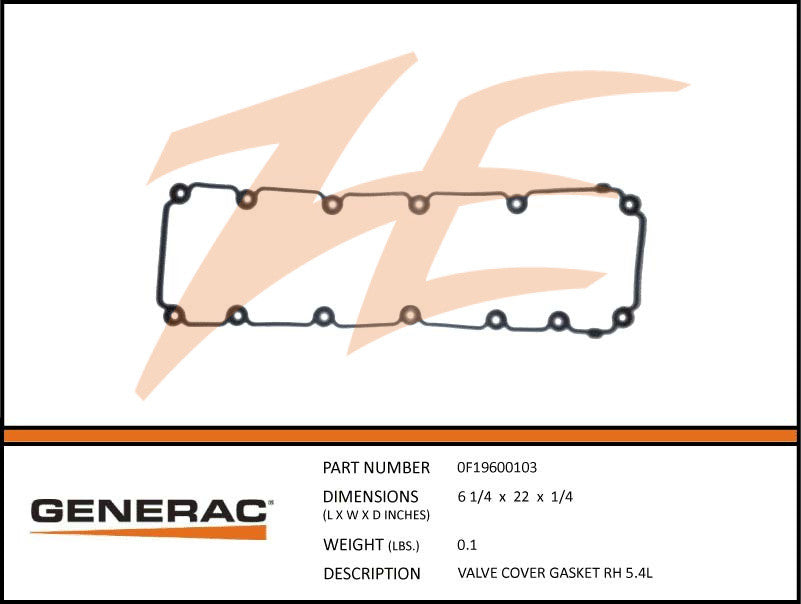 Generac 0F19600103 Valve Cover Gasket 5.4L Right Side