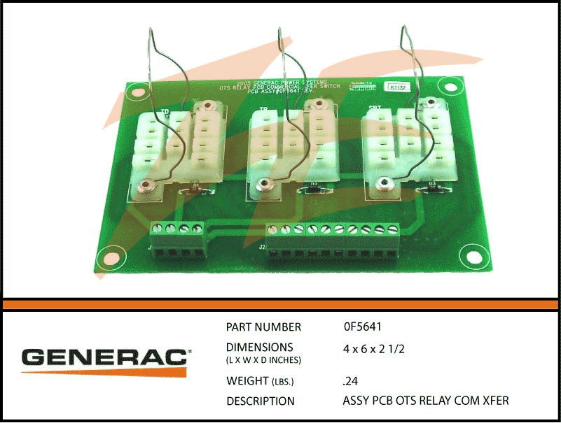 Generac 0F5641 OTS Relay PCB Assembly Transfer Switch