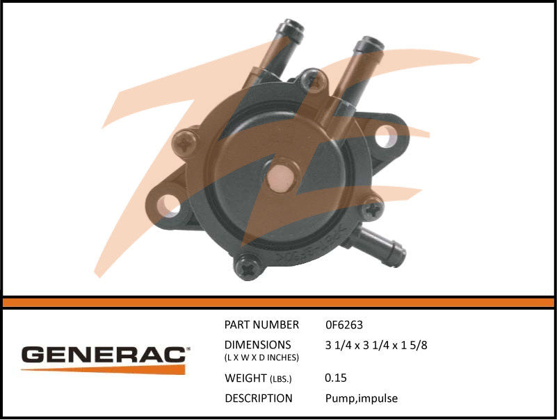 Generac 0F6263 Fuel Pump Impulse – Ziller Electric