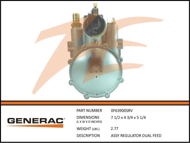 Generac 0F63900SRV Fuel Regulator Assembly Dual Feed