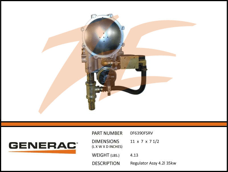 Generac 0F6390FSRV Fuel Regulator Assembly 4.2L 35kW