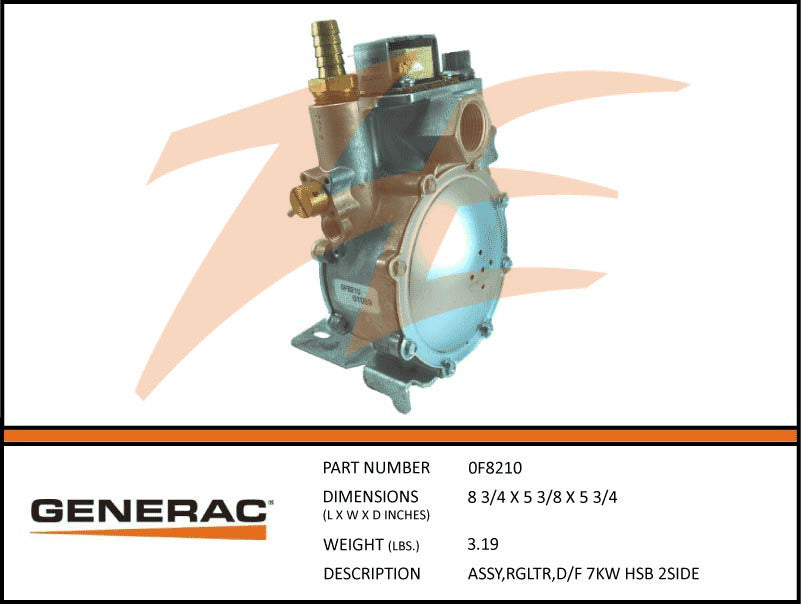 Generac 0F8210 Fuel Regulator Assembly 7kW