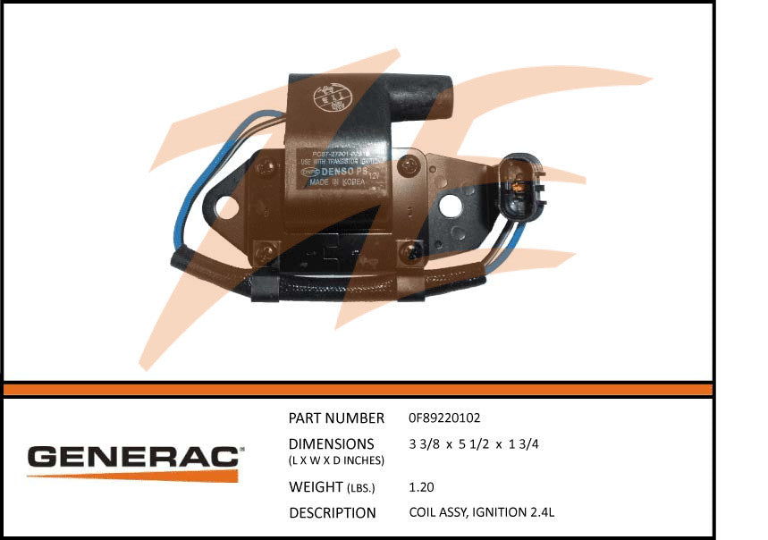 Generac 0F89220102 Ignition Coil Assembly 2.4L