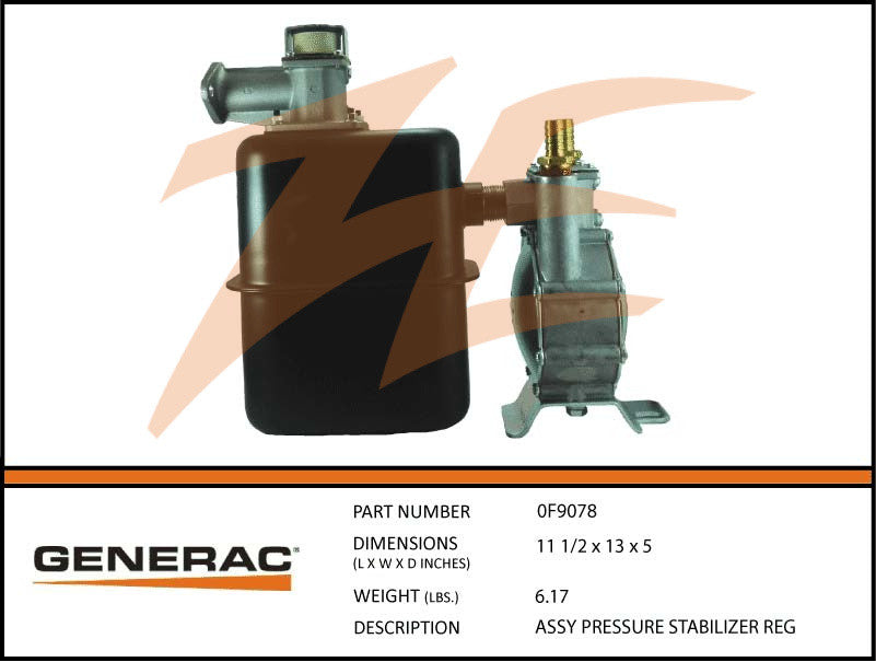 Generac 0F9078 Fuel Regulator Pressure Stabilizer Assembly