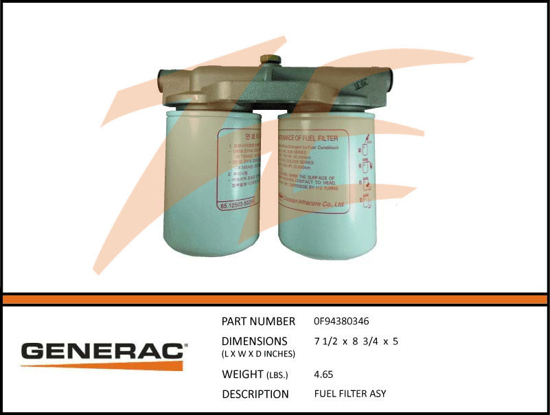 Generac 0F94380346 Fuel Filter Assembly