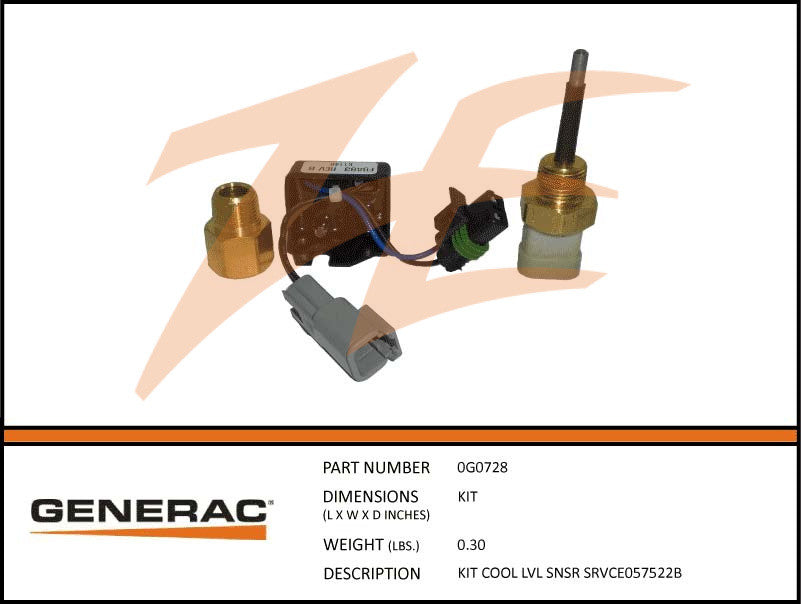 Generac 0G0728 Coolant Level Sensor Kit (Replaced 057522B)