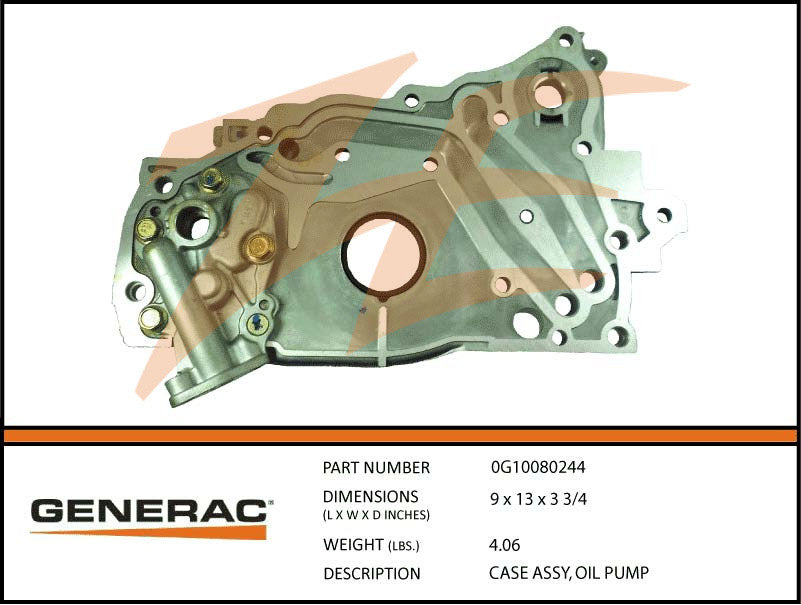 Generac 0G10080244 Oil Pump Case Assembly