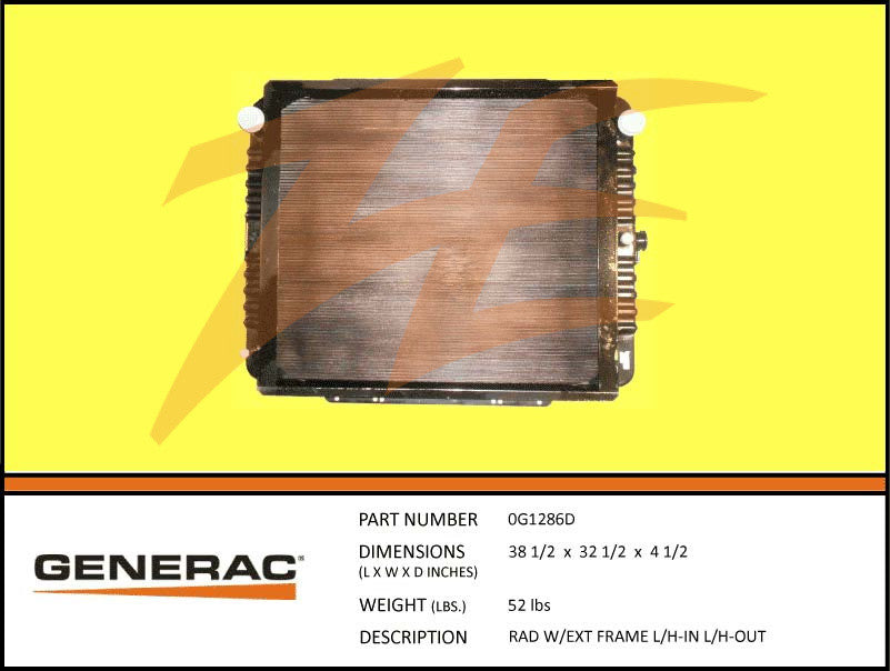 Generac 0G1286D Radiator w/ Ext Frame Left In/Left Out