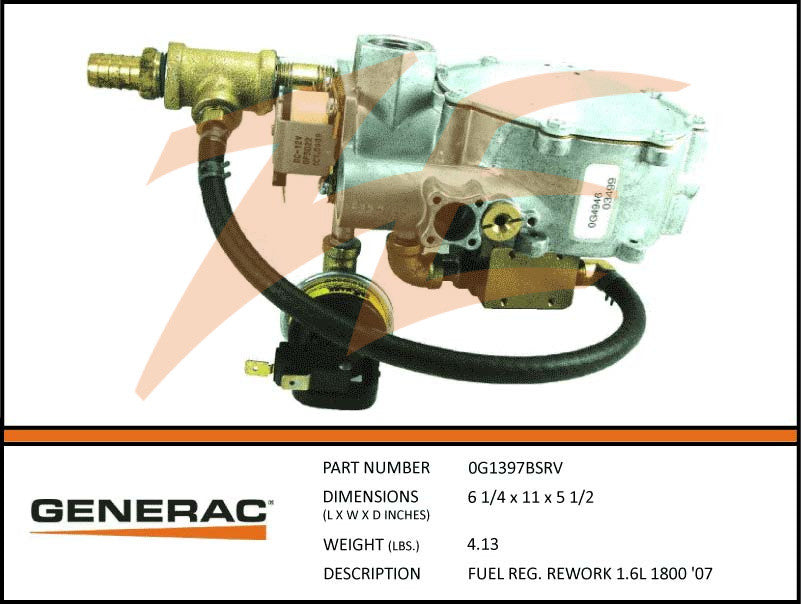 Generac 0G1397BSRV Fuel Regulator Assembly 1.6L 1800 RPM Rework
