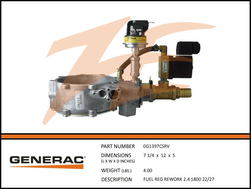 Generac 0G1397CSRV Fuel Regulator Assembly 2.4L 22kW/27kW 1800 RPM