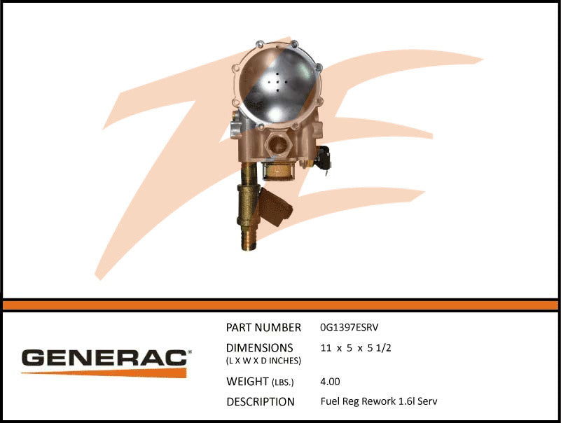 Generac 0G1397ESRV Fuel Regulator Assembly 1.6L Rework