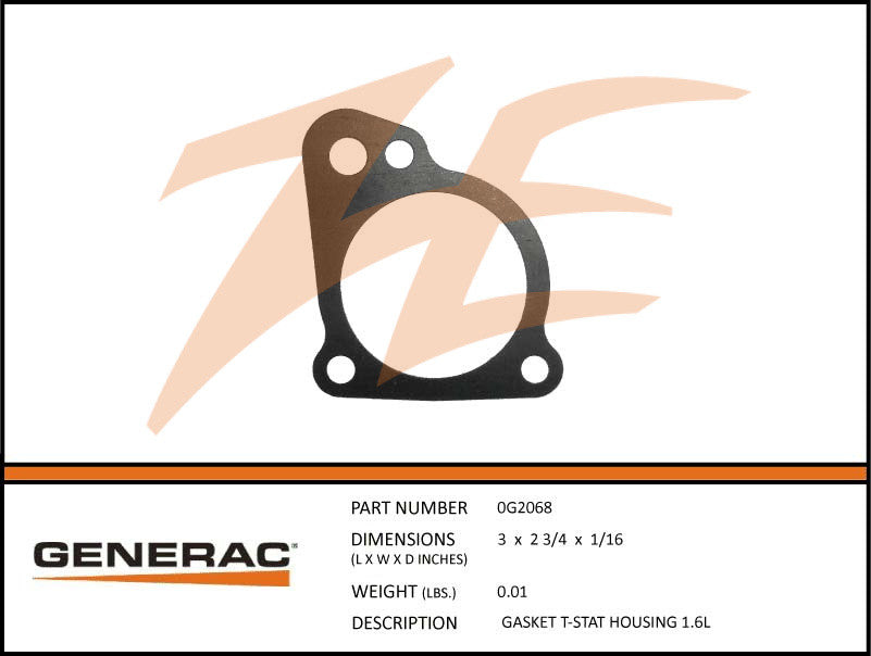 Generac 0G2068 Thermostat Housing Gasket 1.6L