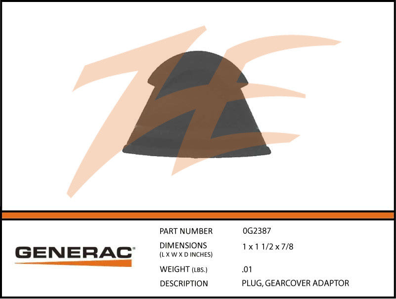 Generac 0G2387 Gearcover Adapter Plug
