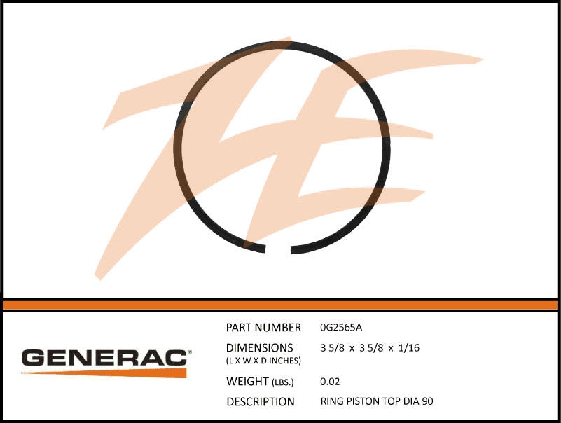Generac 0G2565A Top Piston Ring Diameter 90