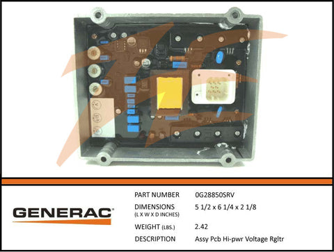 Generac 0G28850SRV PCB Hi-Power Voltage Regulator