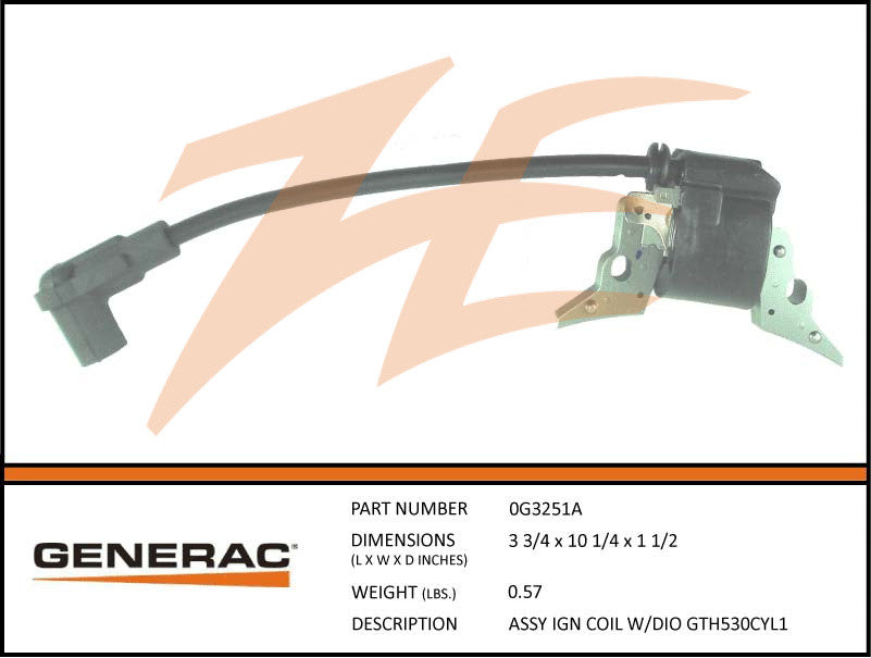 Generac 0G3251TA Ignition Coil Assembly w/Diode GT530 Cyl1