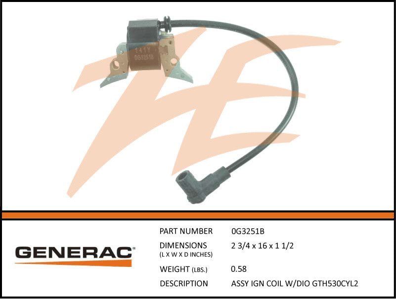 Generac 0G3251TB Ignition Coil Assembly w/Diode GT530 Cyl2