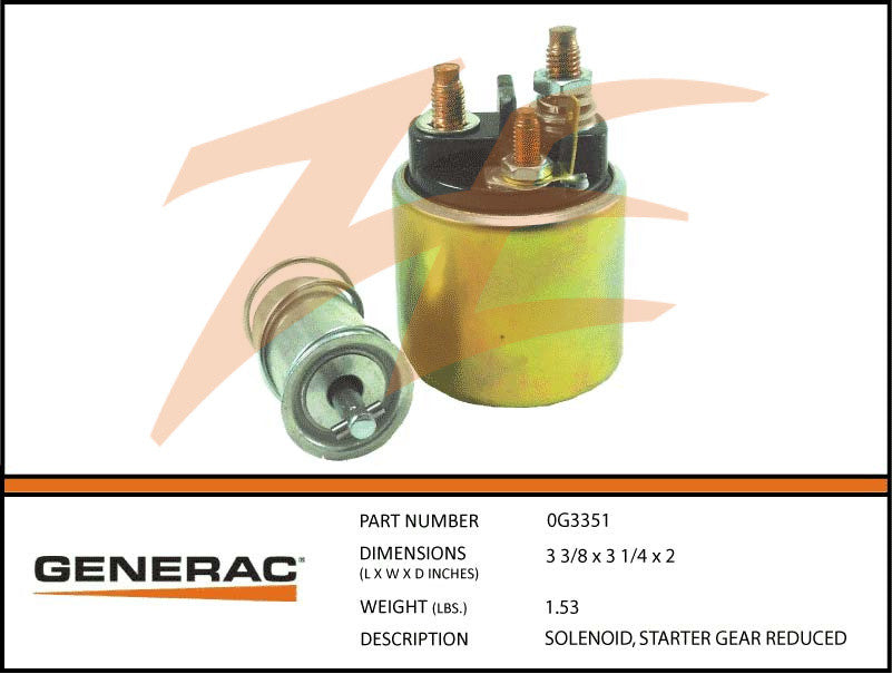 Generac 0G3351 Starter Gear Reduced Solenoid