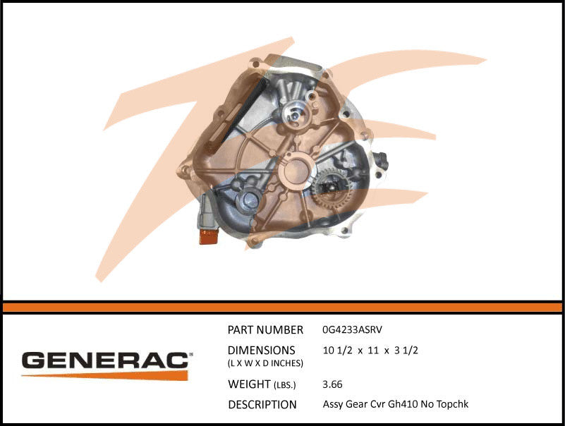 Generac 0G4233ASRV Gear Cover Assembly GH410