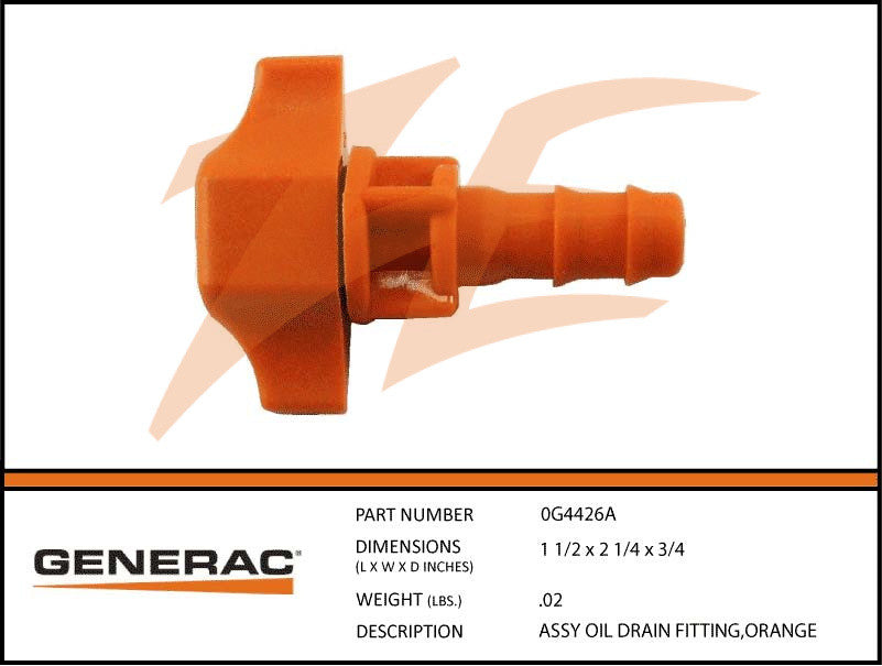 Generac 0G4426A Oil Drain Fitting Assembly Orange
