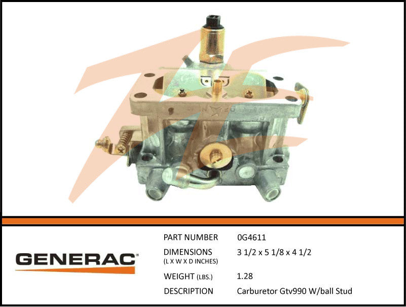 Generac 0G4611 Carburetor GT990 w/ Ball Stud