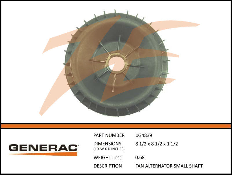 Generac 0G4839 Alternator Fan Small Shaft