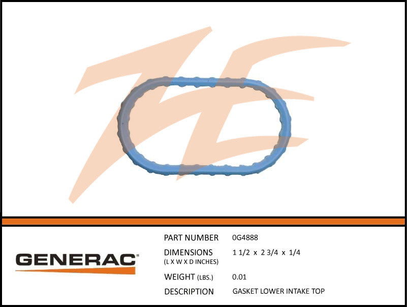 Generac 0G4888 Lower Intake Top Gasket