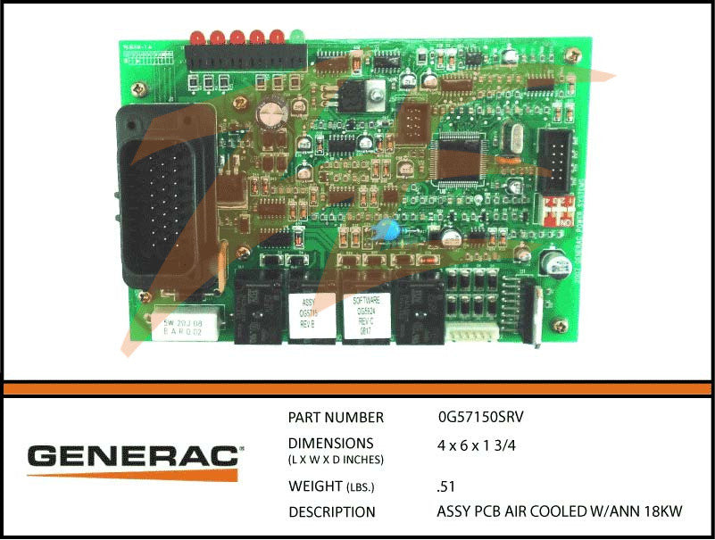 Generac 0G57150SRV/0G5715 PCB Air Cooled w/ann 18kW