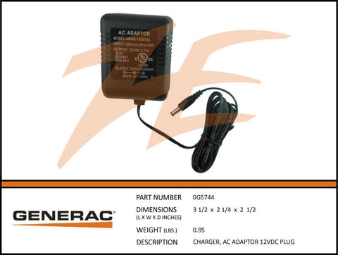 Generac 0G5744 AC Charger Adapter 12VDC