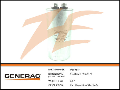 Generac 0G5958A 8kW Voltage Regulator Capacitor 59mF 440V