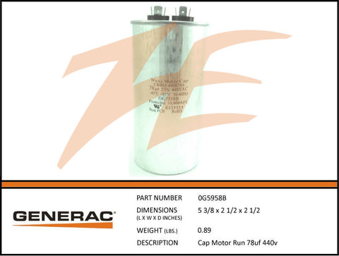 Generac 0G5958B 10kW Voltage Regulator Capacitor 78mF 440V