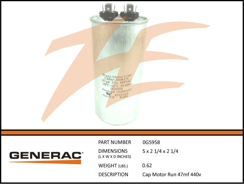 Generac 0G5958 Voltage Regulator Capacitor 47mF 440V
