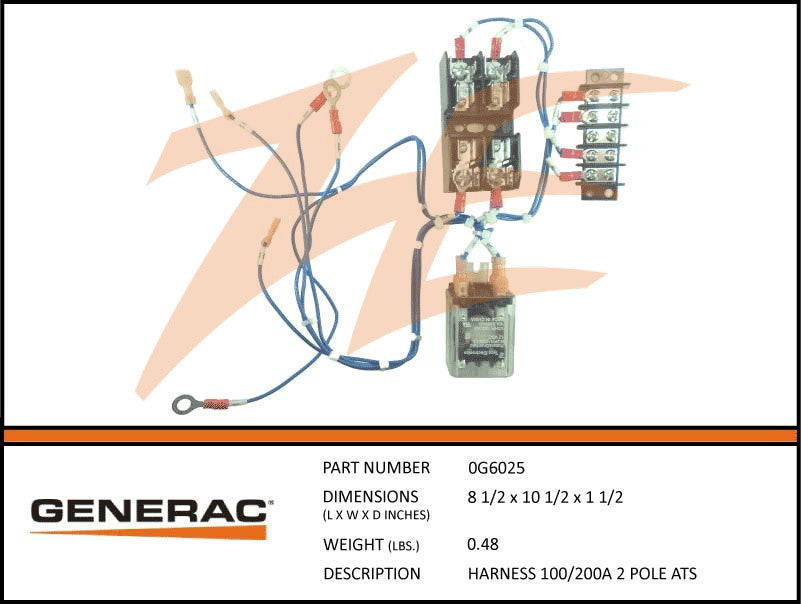 Generac 0G6025 Transfer Switch Harness 100/200A 2 Pole