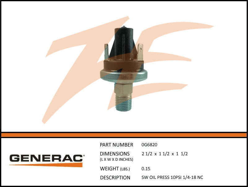 Generac 0G6820 Oil Pressure Switch 10 PSI 1/4-18 N.C.